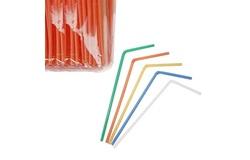 Трубочки со сгибом L=21см [1000шт]; D=5,H=480,L=290,B=70мм; разноцветн.
